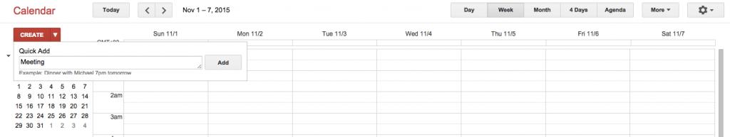 Quick Add in Google Calendar