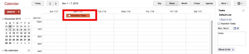 Tasks in Google Calendar