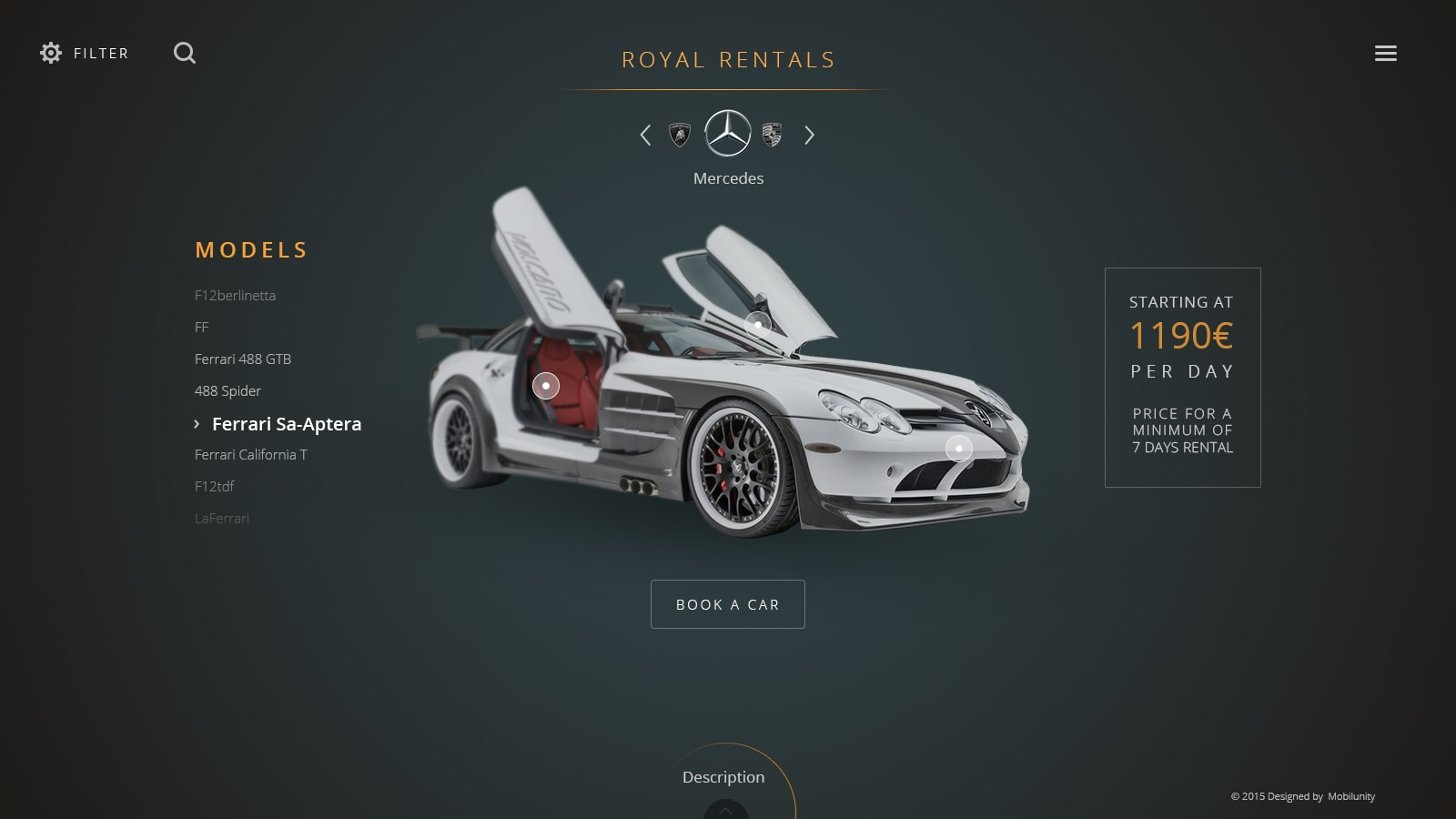 car rental web design