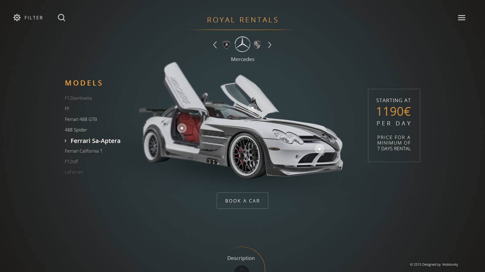 Luxurious Car Rental Website Design Mobilunity