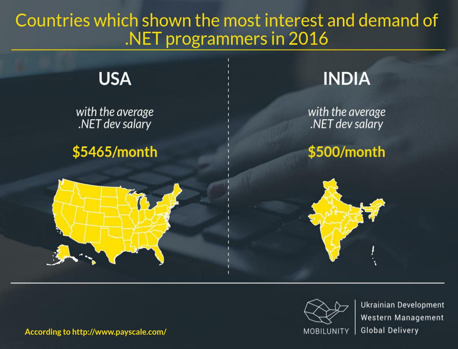 .NET developers salaries in USA and India