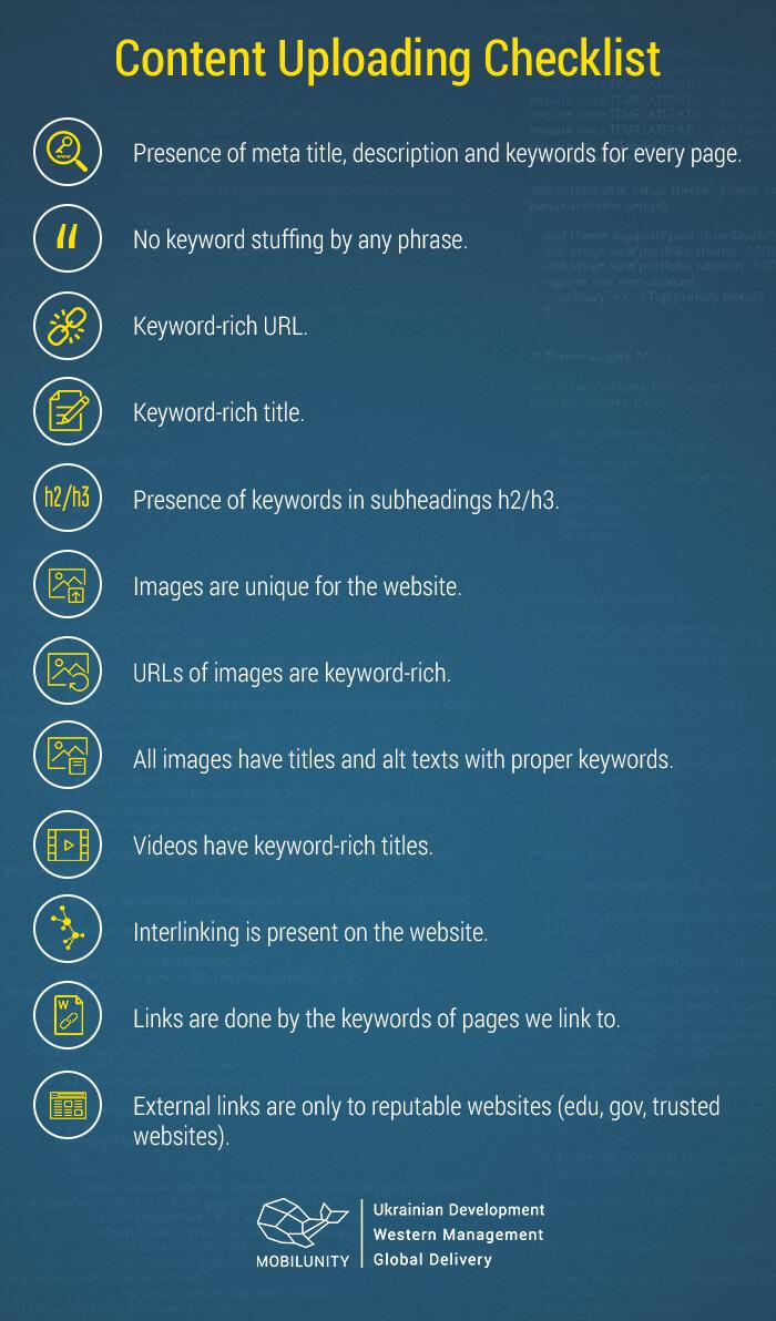 content uploading checklist