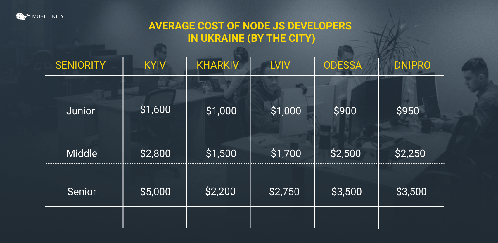 cost of Node.js developer in Ukraine