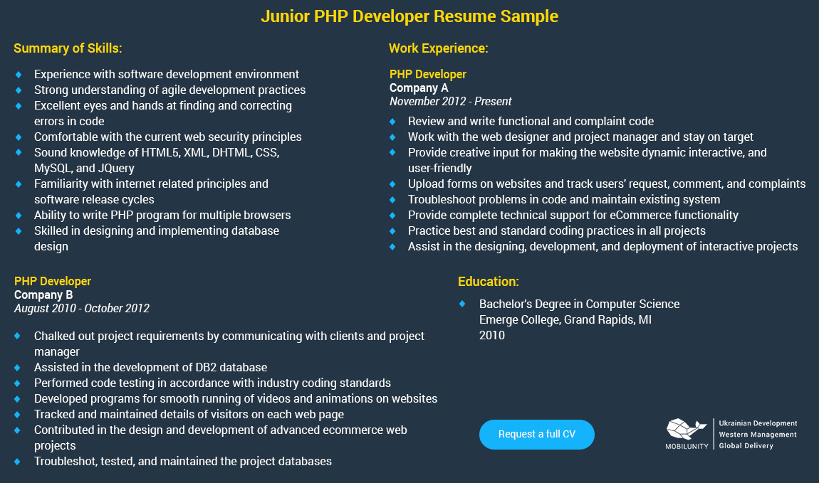 junior php developer resume sample