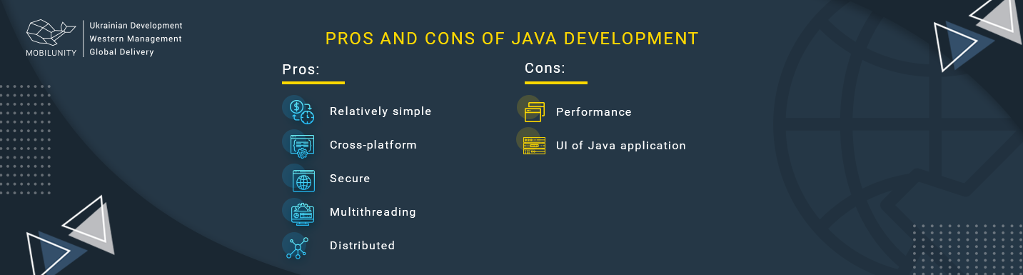 pros and cons of java application development