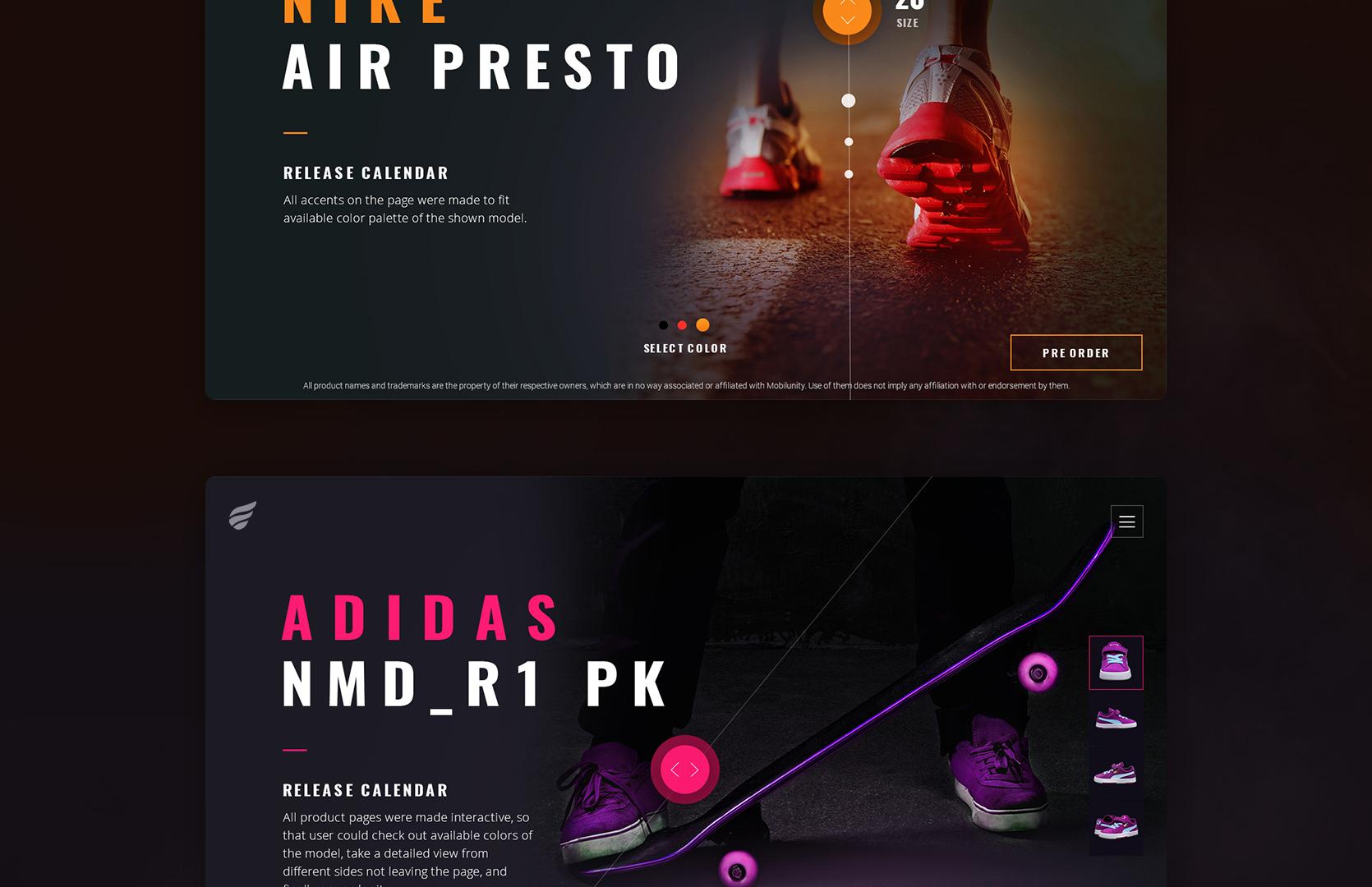 Trendy Web Design of Sports Release Calendar | Mobilunity