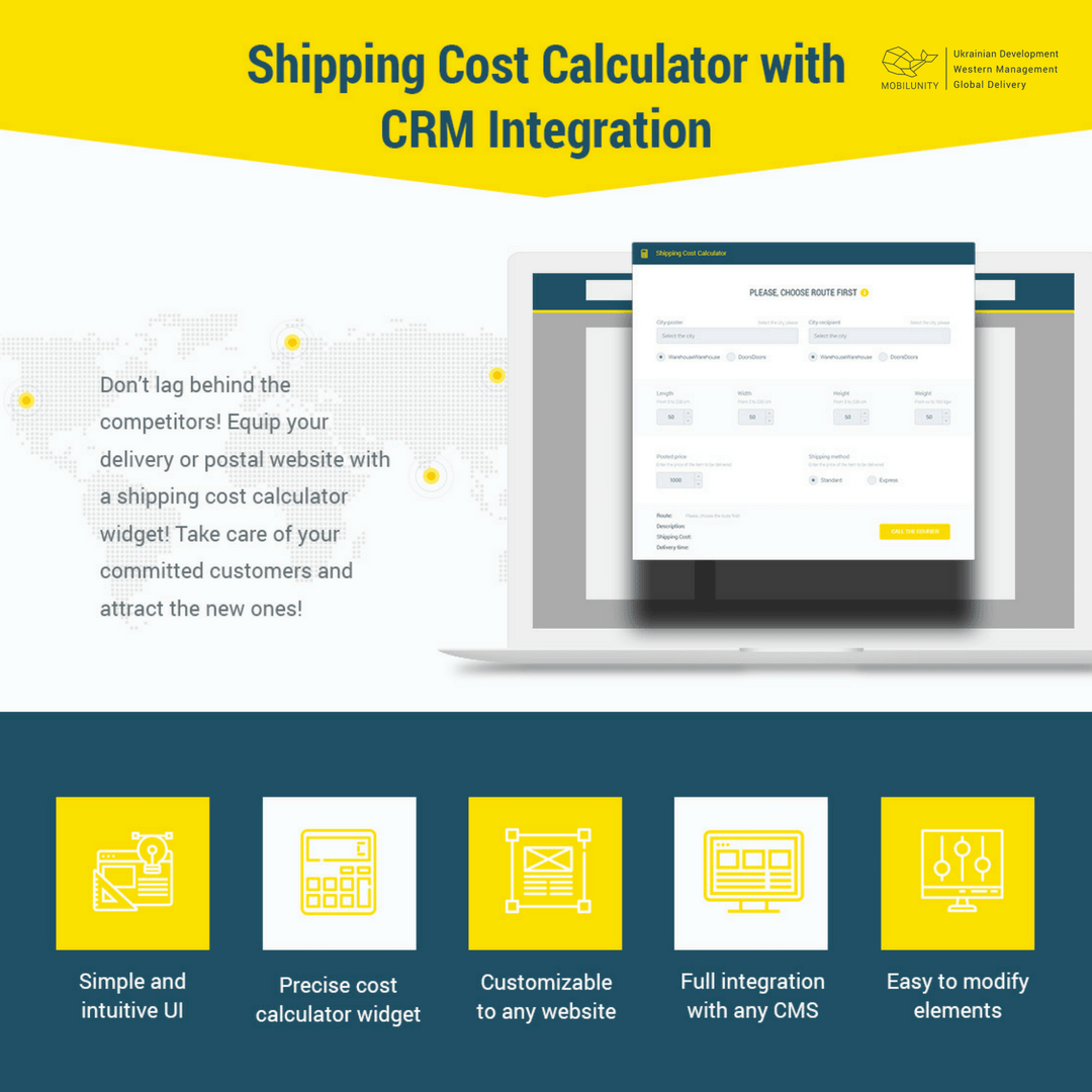 shipping calculator widget devsigned by Mobilunity