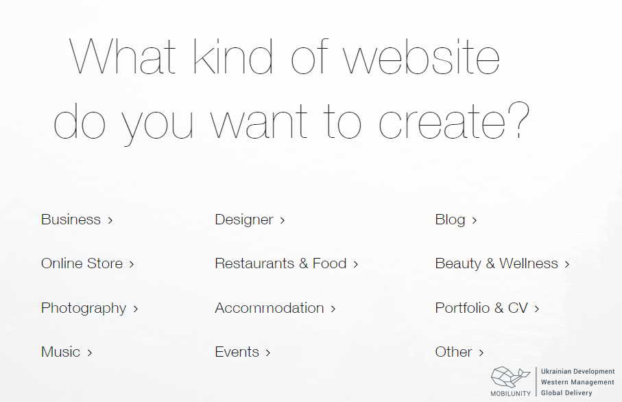 Build your own site with Wix