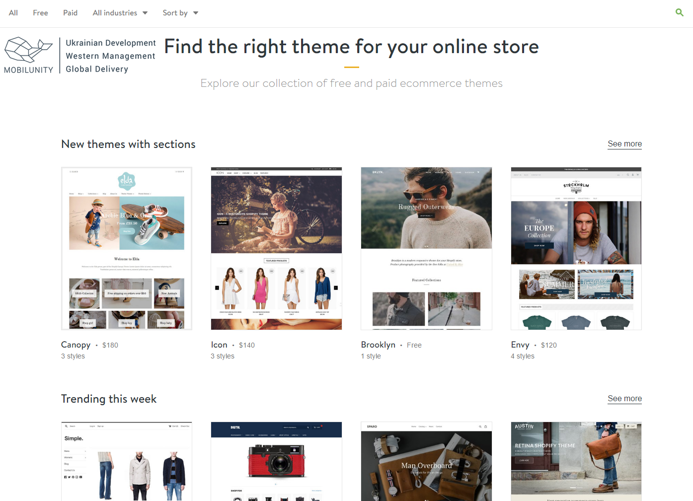 Choose custom eCommerce store design from wide range of available templates