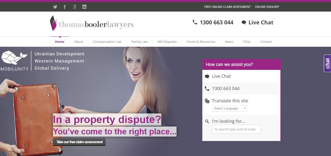 law firm website development: Thomas Booler Lawyers