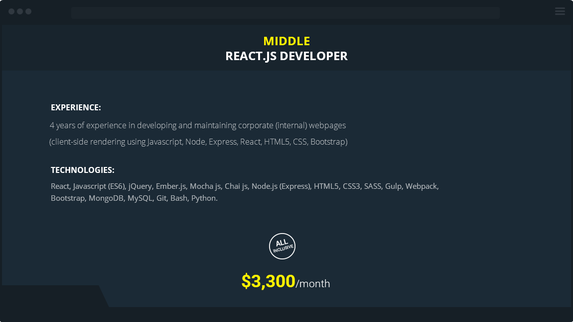 middle react developer for hire
