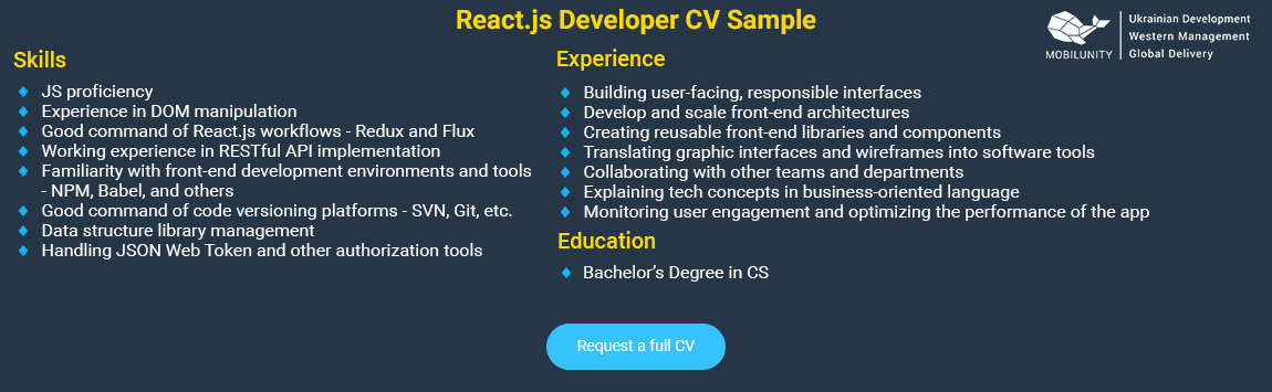 junior react developer sample