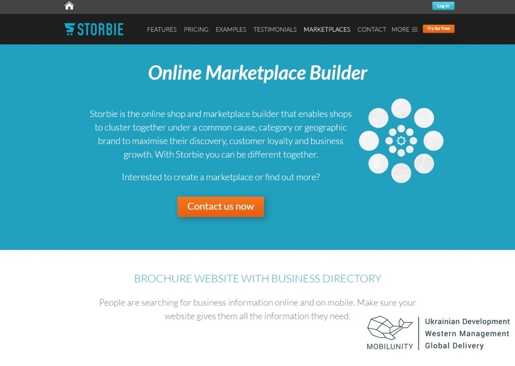 marketplace website development with storbie