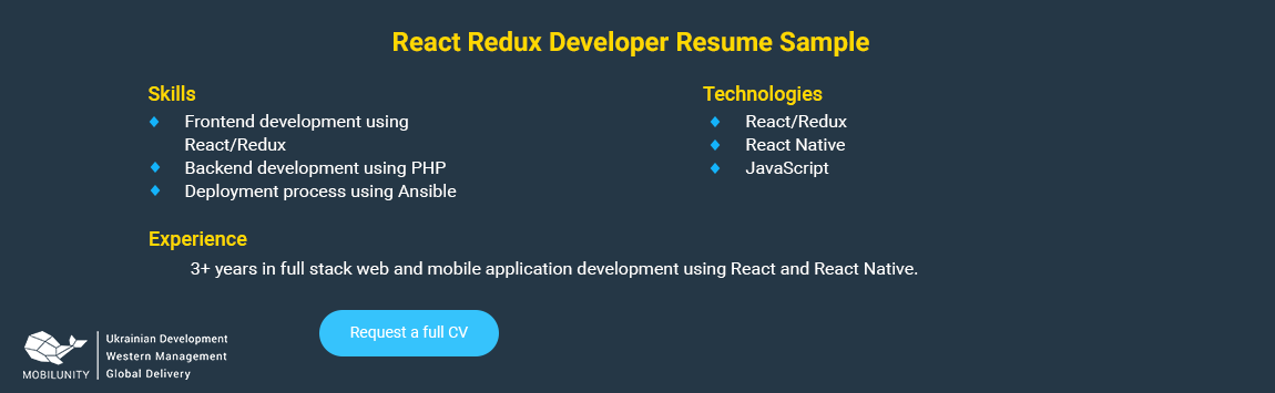 react redux developer resume