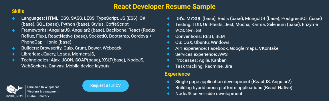 react js resume points