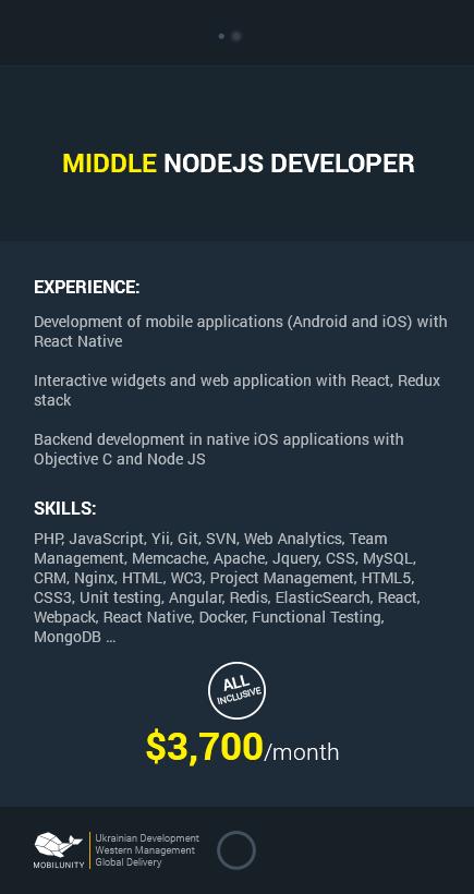 CV of a Node JS developer for hire