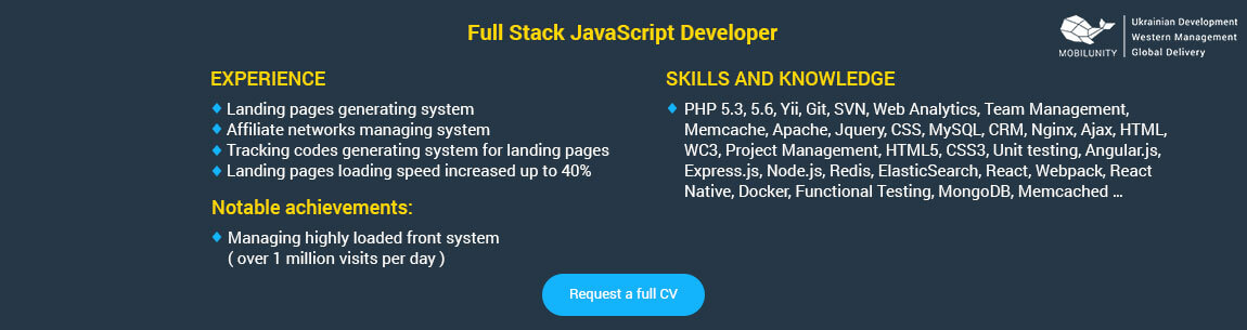 MEAN full stack developer or JavaScript full stack developer resume sample