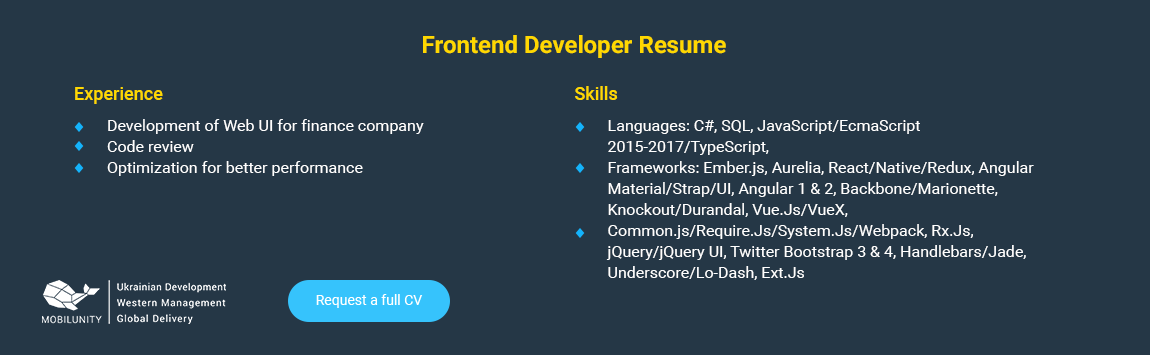 Ember Developer Salary and Resume | Mobilunity