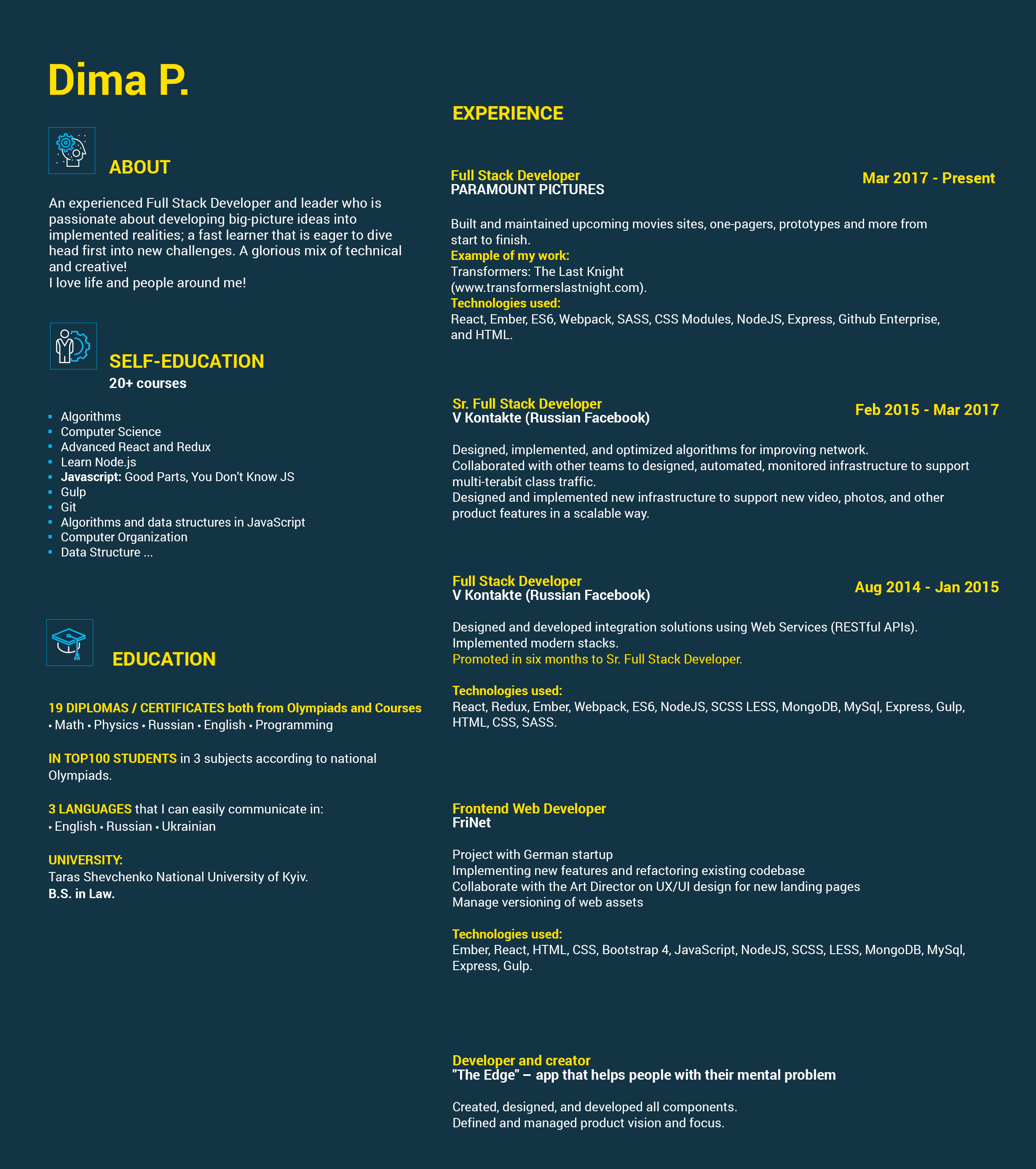 Full Stack Wev Developer Resume Sample
