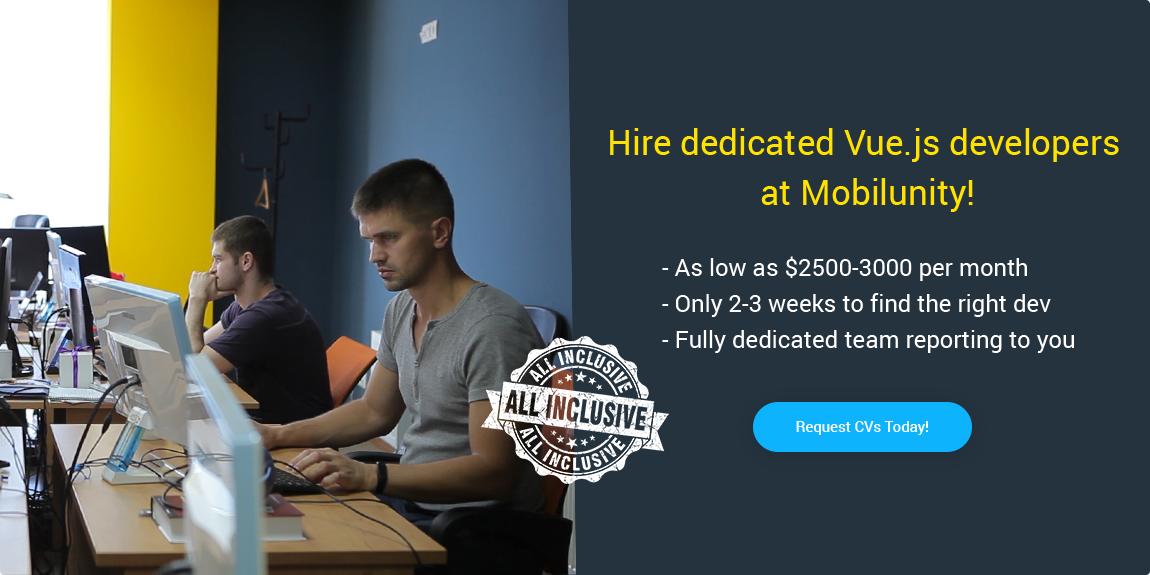 hire vue js developer at Mobilunity