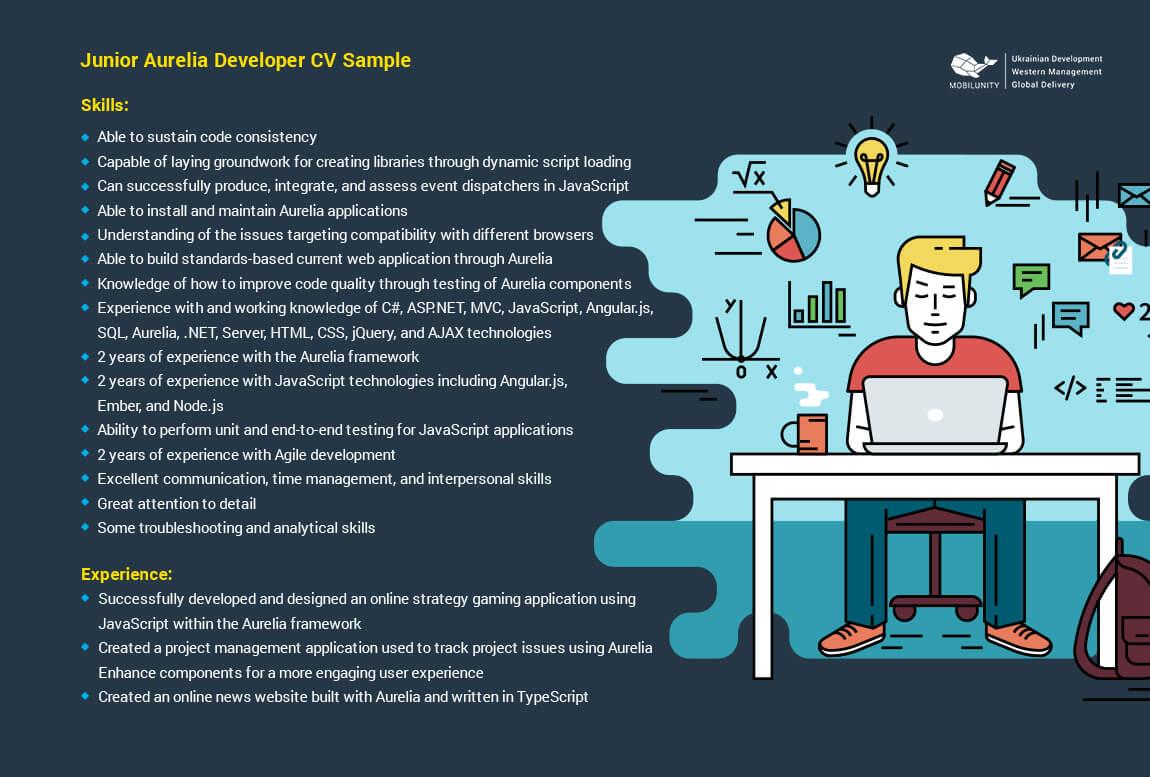junior aurelia developer resume sample