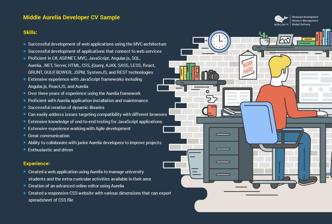 middle aurelia developer resume example