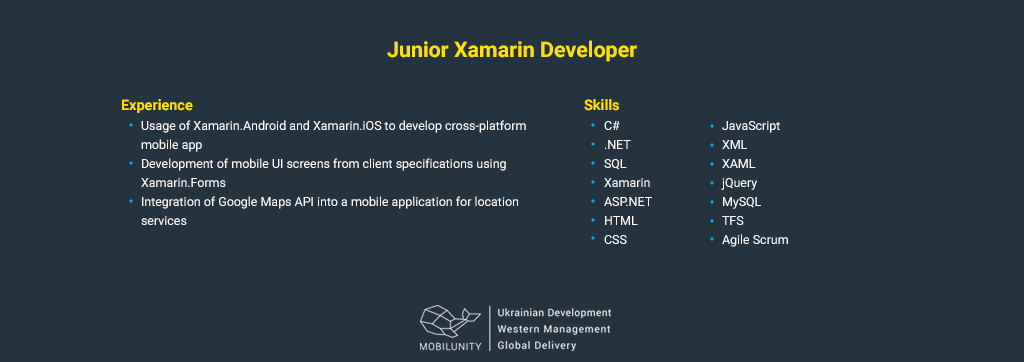 junior xamarin developer