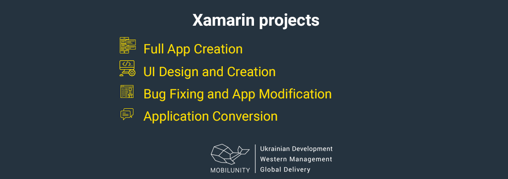 list of projects of xamarin developers