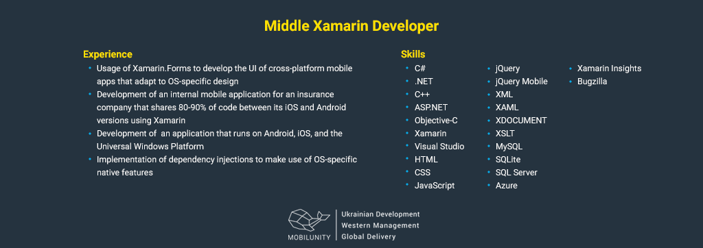 middle xamarin developer