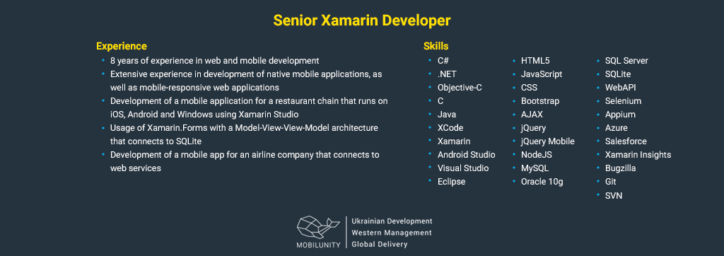 senior xamarin developer