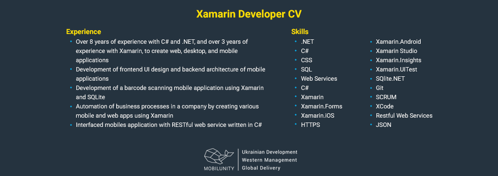 xamarin developer resume