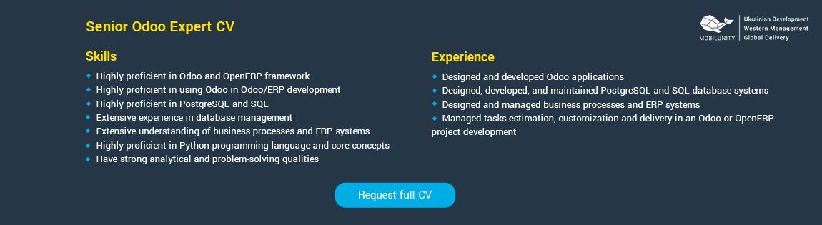 CV sample of Odoo programmer for hire