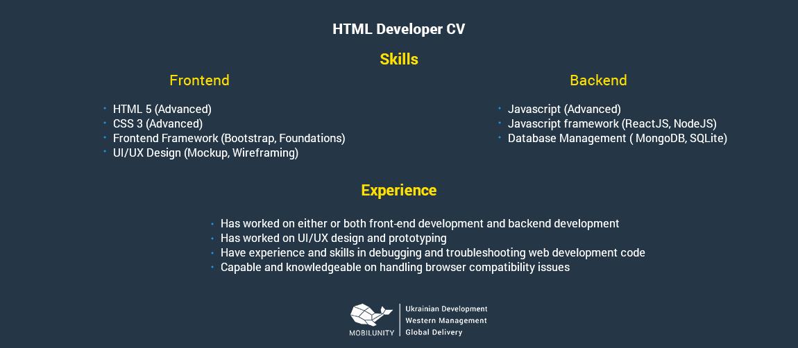 html programmer resume