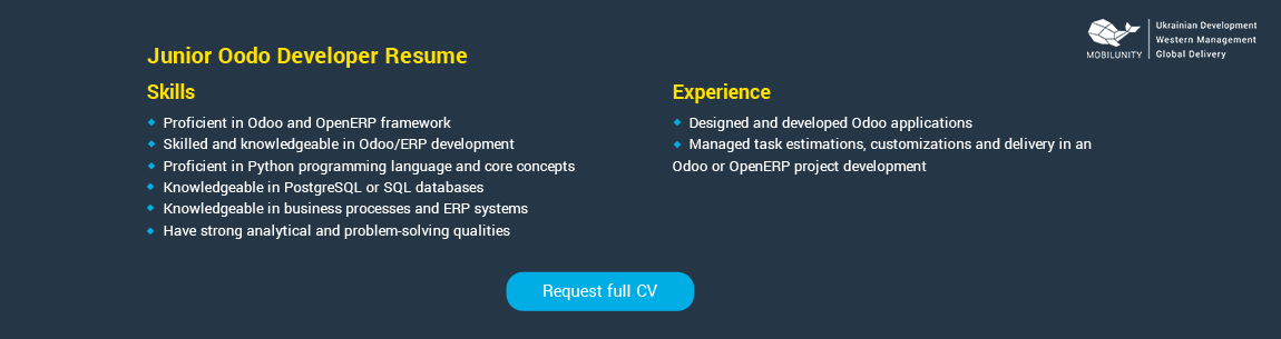 resume example of Entry level Odoo expert