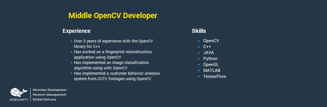 sample of opencv developer resume