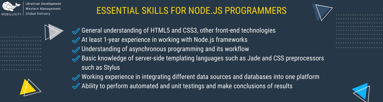 skills of node.js developers for hire