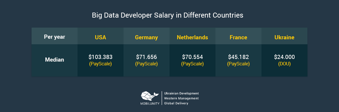 bid data developer salary arond the world