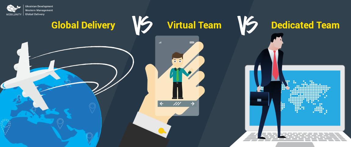 global delivery model vs virtual team model vs dedicated team model