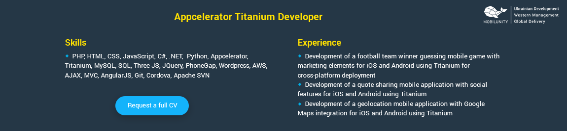 titanium certified app developer resume sample