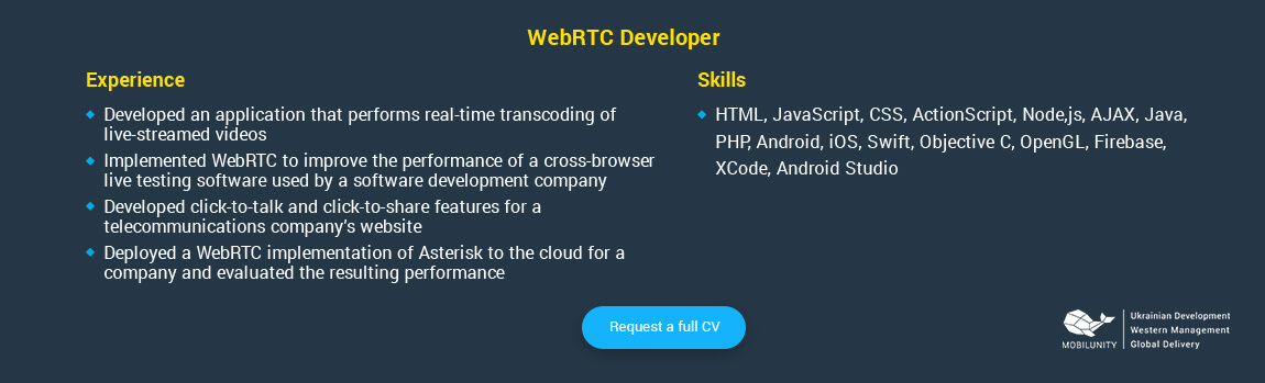 webRTC Developer resume
