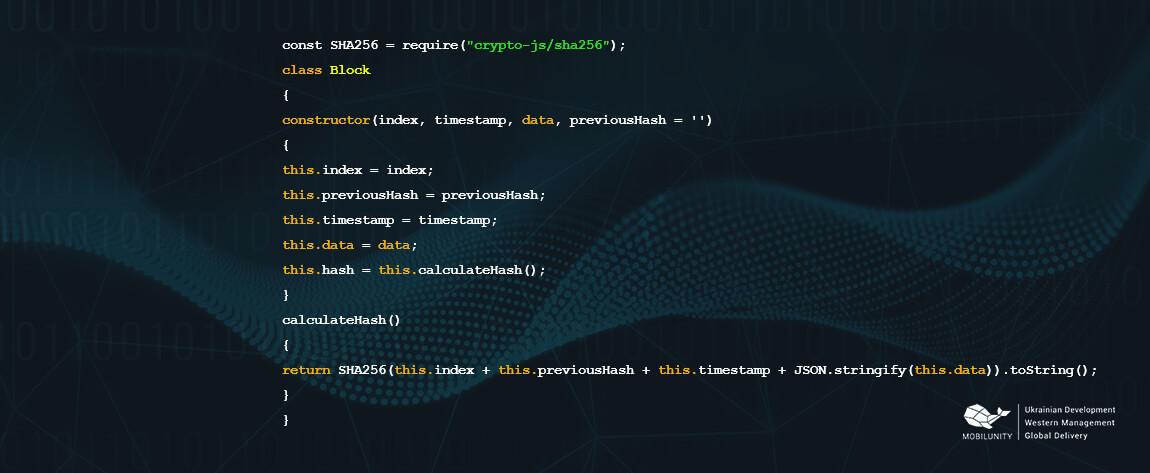 blockchain developer code with C++ JavaScript