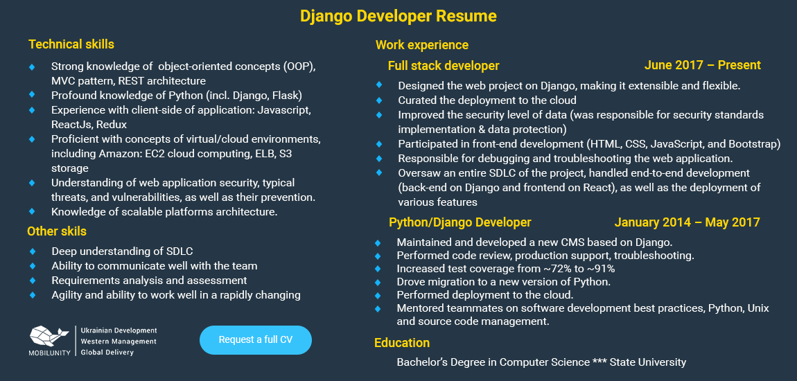 django developer resume sample