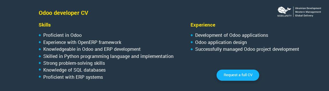 odoo developer resume sample
