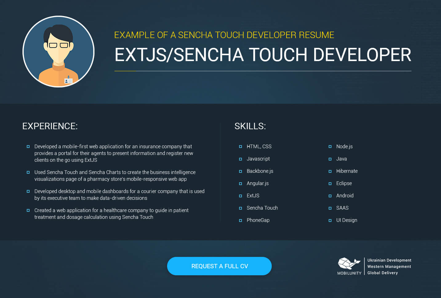 sencha touch developer resume sample