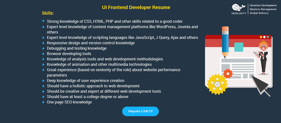 ui front end developer resume sample