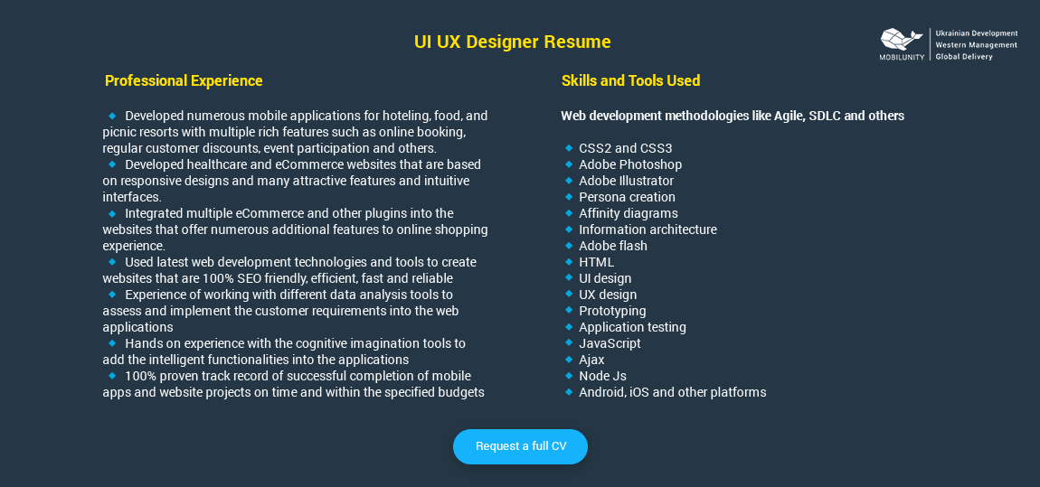 ui ux designer resume sample