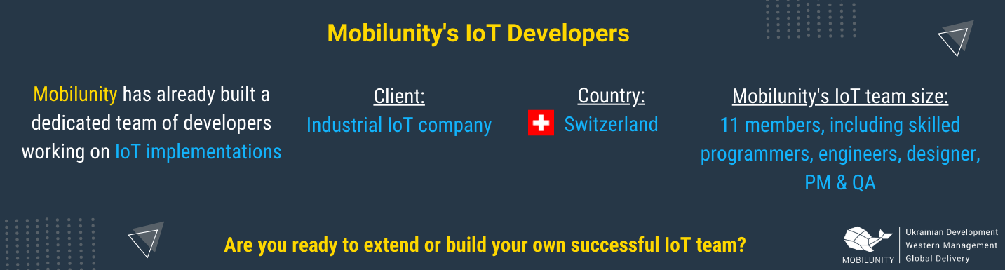 experience of mobilunity in building teams of dedicated iot developers