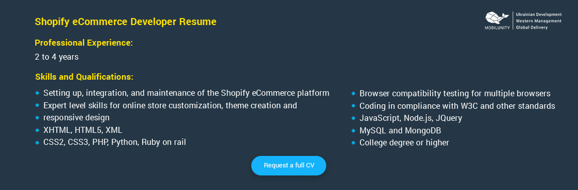 shopify developer resume