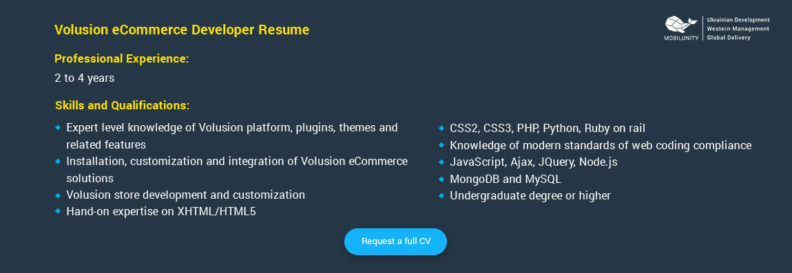 volusion developer resume sample