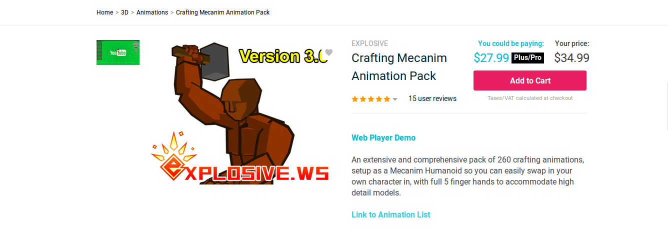Crafting Mecanim Animation Pack OpenCV and Unity Project